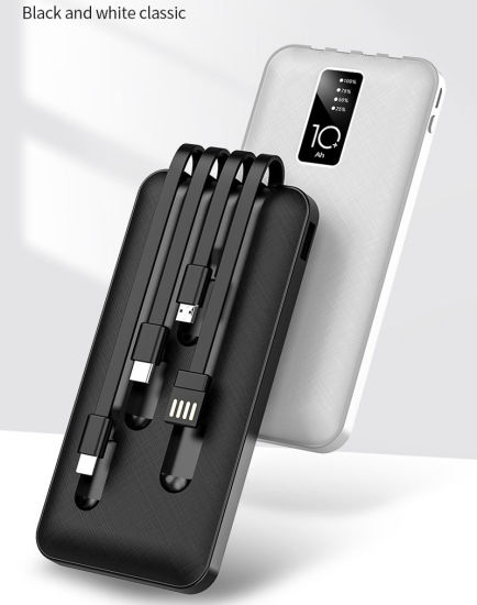 Wholesales Built in Double USB Cable Power Bank 10000 mAh