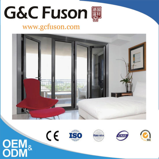 China Internal Folding Glass Door With Up And Down Roller China