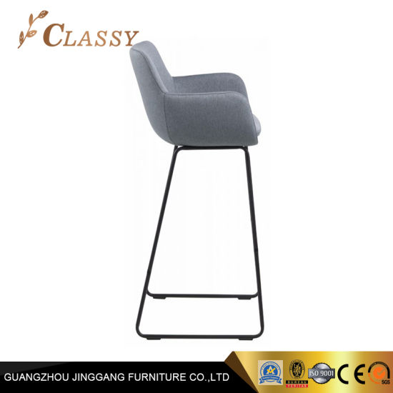Grey Fabric Bar Chair with Armrest for Bar and Hotel Furniture