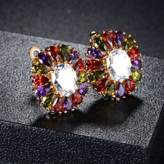 Latest Flower Design Jewelry Gold Plated colorful Stone Earring Luxury pictures & photos