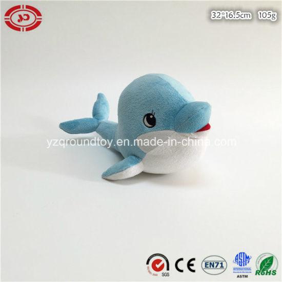 Cute Eyes Plush Blue Dolphin Children Soft Stuffed CE Toy