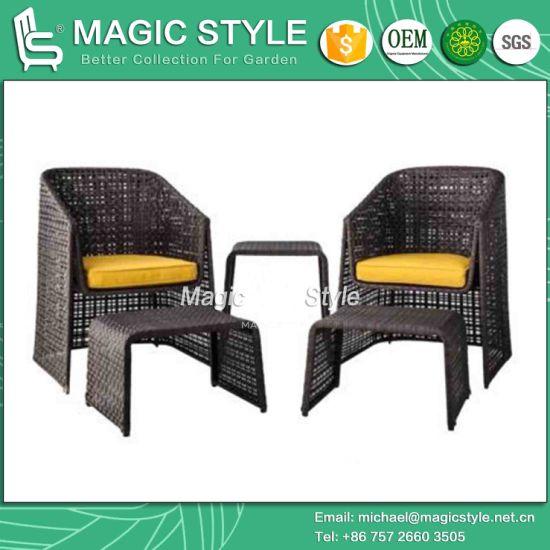 Rattan Coffee Set Leisure Chair Rattan Chair Footstool (Magic Style)