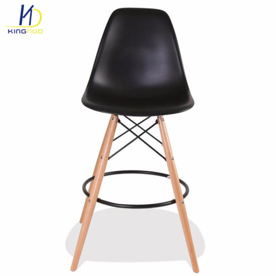 Replica Modern Top Rated Strong Wood Legs PP Plastic Eames Bar Stool/ Chair