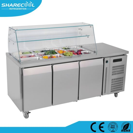 Amazing Stainless Steel Solid Door Salad Sandwich Prep Table Refrigerator Home Remodeling Inspirations Genioncuboardxyz