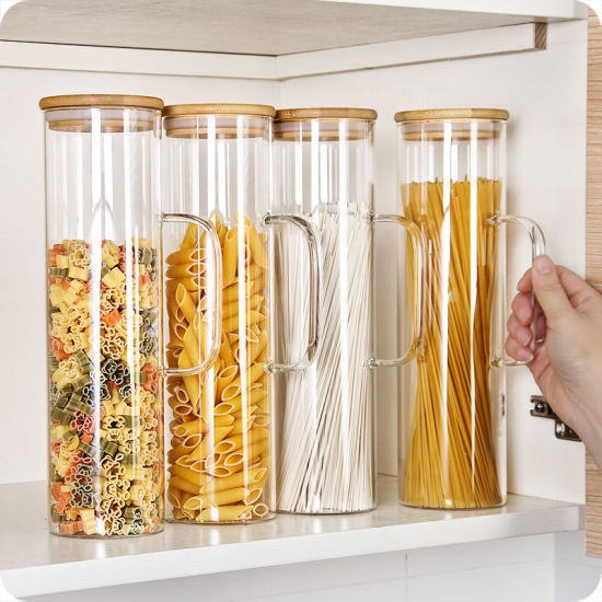 High Quality Kitchenware Glass Storage Bottle with Handle