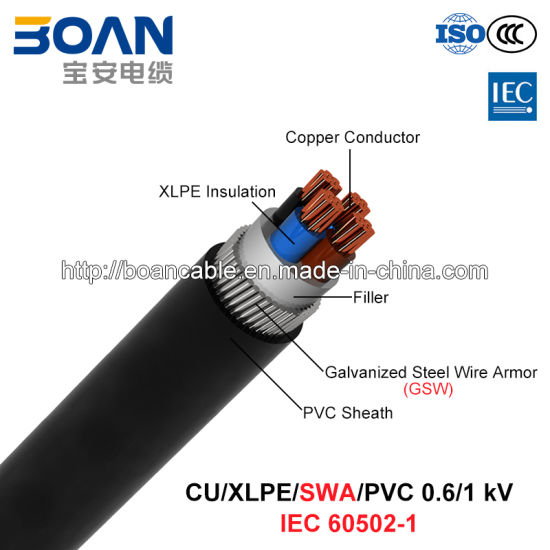 Cu/XLPE/Swa/PVC, 0.6/1 Kv, Steel Wire Armored (SWA) Power Cable (IEC 60502-1)