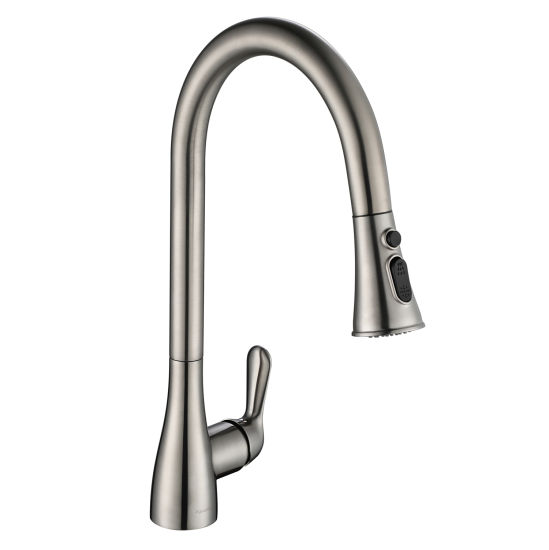 China Long Neck Kitchen Tap With Two Function Sprayer For Sink Wash