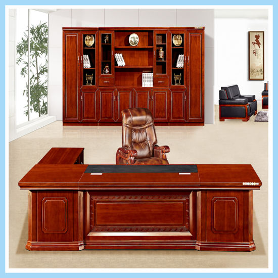 Hot Item Large Size Cutomized Wooden Office Desk Luxury Boss