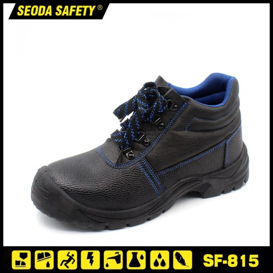 Black Leather Cheap PU Injection Safety Shoes pictures & photos