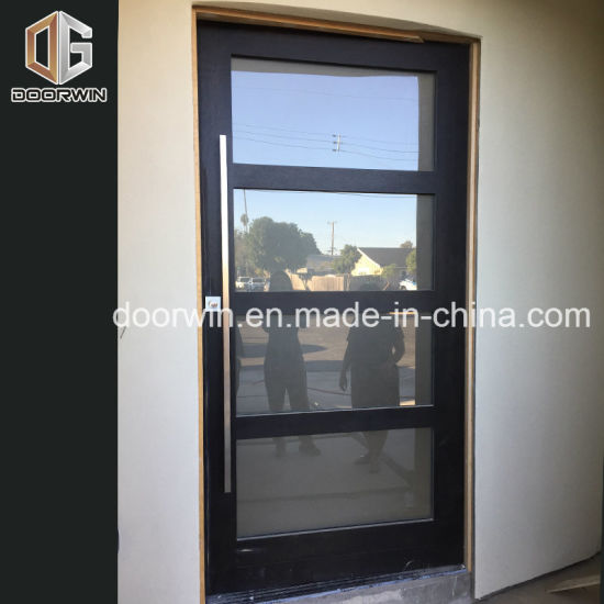 Entry Entrance Door With Oak Wood Frame And Glass Insert