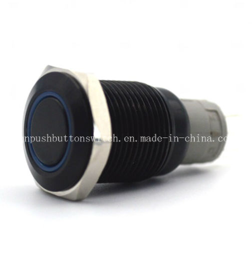 IP67 Protection Level Waterproof Black Body Push Button Switches