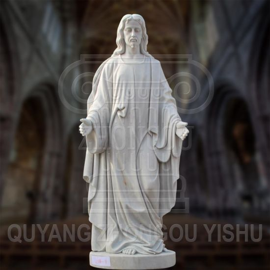 Natural Marble Sculpture Custom Made Jesus Christ Statue Garden Decoration