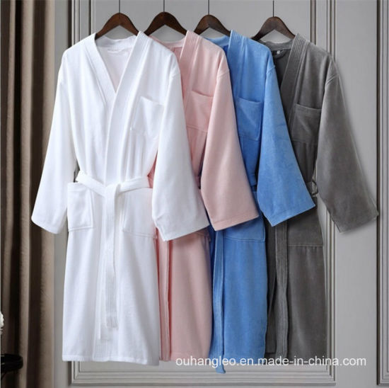 Good Quality Cotton Velour Terry Underwear Bathrobe for Hotel SPA pictures & photos