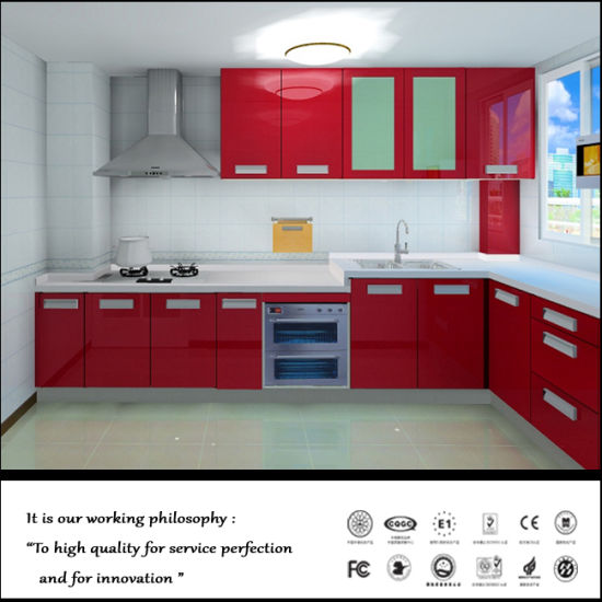 Red Colour Uv Faced Kitchen Furniture Fy7895 Pictures Photos