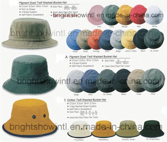 ae862e6d4fe Customized Promotion Pigment Dye Twill Washed Bucket Hat pictures   photos