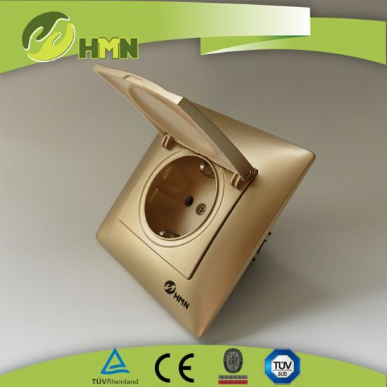 V Series Golden Color Dust Cap Schuko Socket Manufacturer Socket Switch