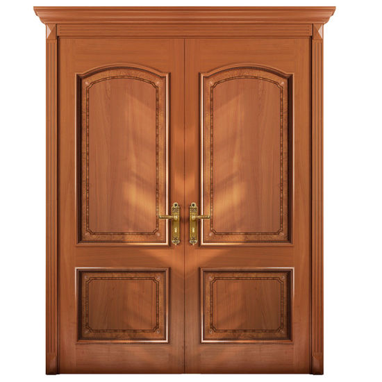 china oppein entrance cherry wood veneer double leaf exterior door