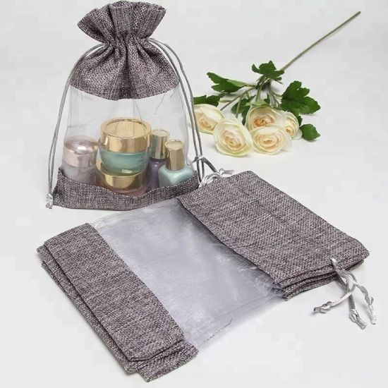 Customized Jute/PVC Grain Rice Gunny Cosmetics Packing Linen Aromatherapy Gift Drawstring Pouches Bag
