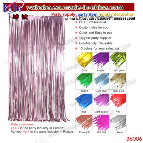 Party Supply Wholesale Metallic Tinsel OEM Foil Door Curtain for Wedding Decoration (B6006)