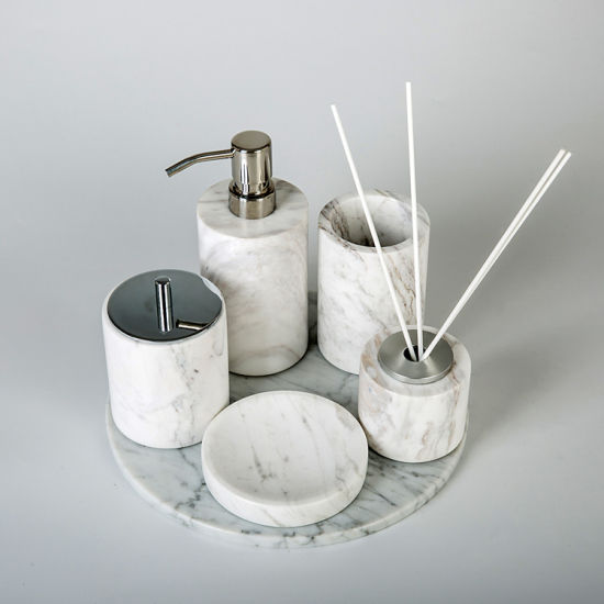 China Bathroom Luxury Accessories Set Marble White Bathroom Accessories -  China Home Decor, Marble Soap Dispenser