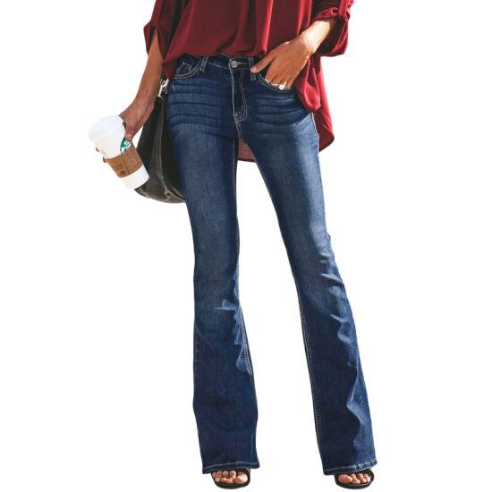Wholesale Women Medium Blue Wash Vintage Wide Leg Denim Jeans