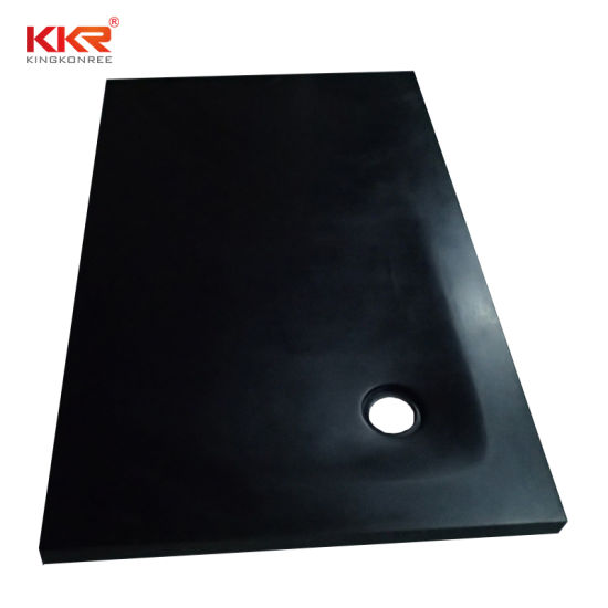 High Glossy Acrylic Solid Surface Black Rectangular Corian Shower Tray