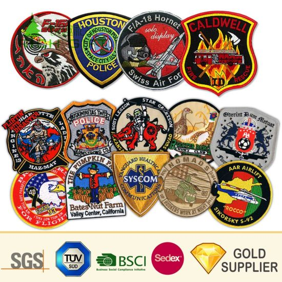 Custom Logo Magnetic Hand Embroidered Bullion Wire Blazer Woven Patch Towel School Security Army Lapel Pin German Garment Cloth Fabric Textile Embroidery Badge