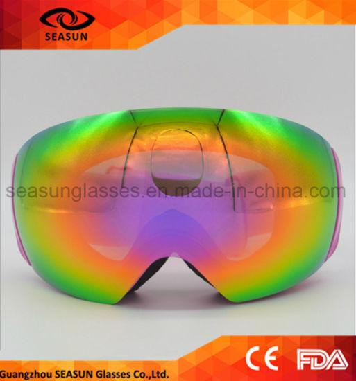 Blue Winter UV400 Eye Protective Snow Goggles with Custom Ski Goggle Strap