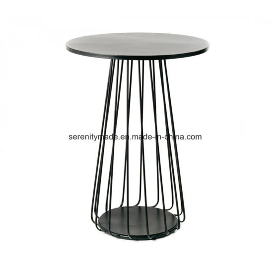 Outdoor Round Glass Top Cocktail Metal Wire High Bar Table For Cafe And Bar