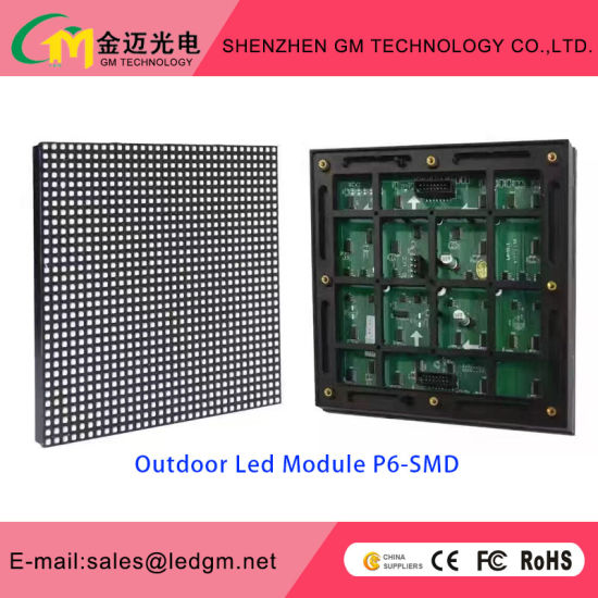 High Resolution Outdoor Full Color P6 LED Display Screen for Fixed Installation or Rental