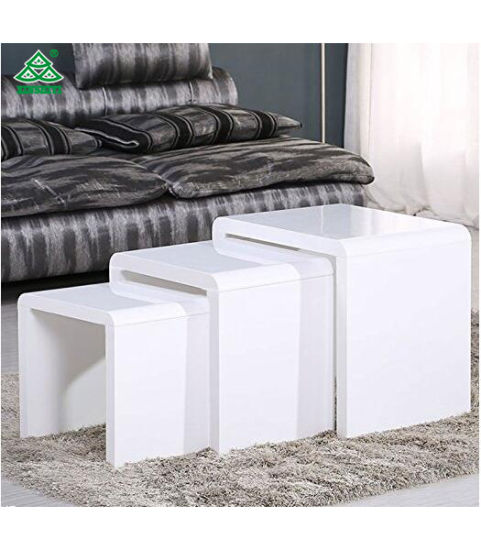 Voilamart 3 Stackable Nesting Tables Set With High Gloss Side, Espresso  Coffee Bed Sofa Snack End Tables For Living Room Furniture   Glossy White