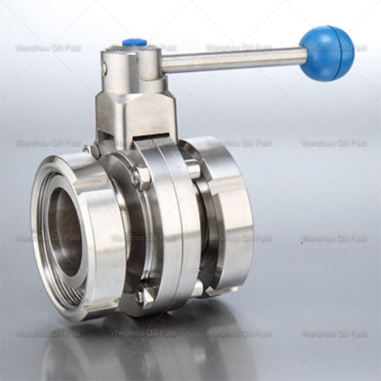Stainless Steel Sanitary Flanged End 3 Piece Butterfly Valve pictures & photos