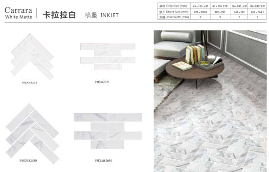 China Italian Kitchen Bathroom Wall Marble Look Carrara White Mosaic Herringbone Shape Ceramic Backsplash Tile China Floor Tiles Bathroom Tiles