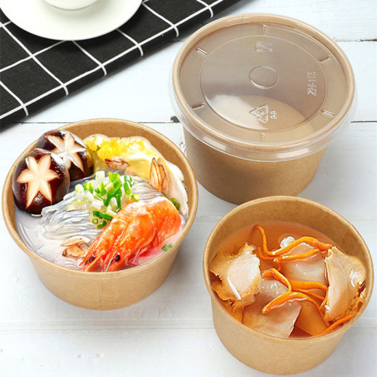 Disposable Kraft Paper Bowl Round Takeaway Packaging Salad Fruit Food Container1000ml Large Lunch Boxes Dessert Box pictures & photos