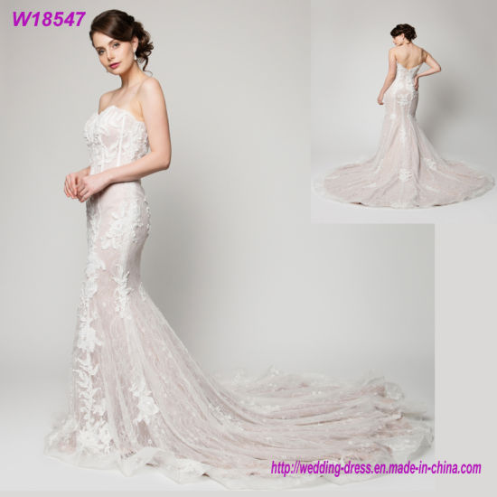 01aa693b078 W18547 Ivory and White Color Lace Mermaid Long Train Wedding Dress Bridal  Gown