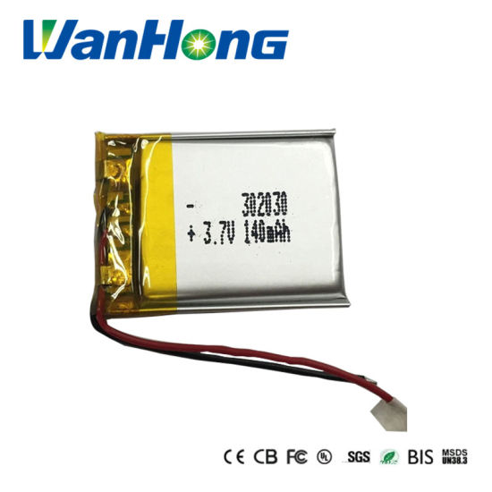 UL2054 IEC62133 RoHS 302030PL 140mAh 3.7V Rechargeable Lithium Battery Li-Polymer Battery Pack for Watch/MP3/4