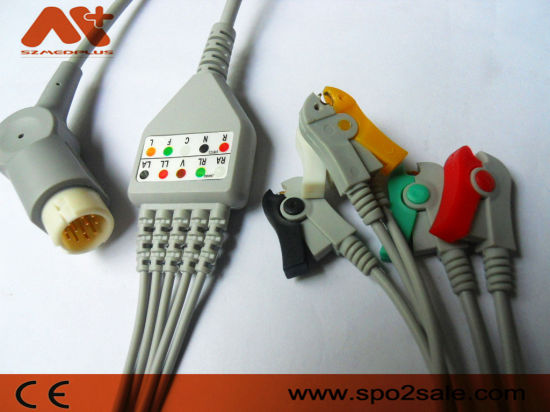 Compatible Philips M1986A ECG Cable with 5-Lead Clip