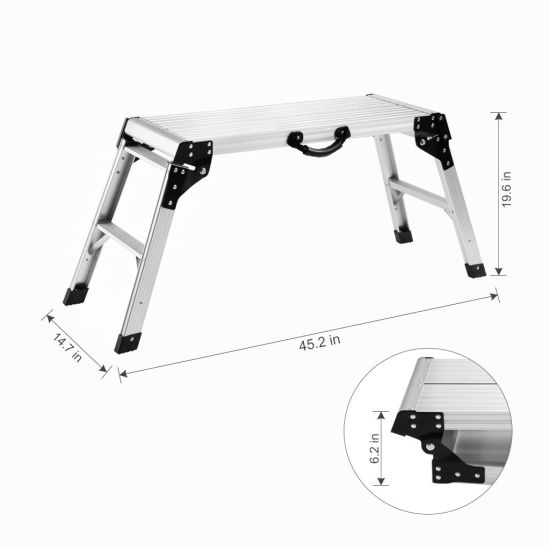 Wondrous Aluminum Work Platform Drywall Step Up Folding Work Bench Portable Stool Ladder With Non Slip Mat And Side Handle Dailytribune Chair Design For Home Dailytribuneorg