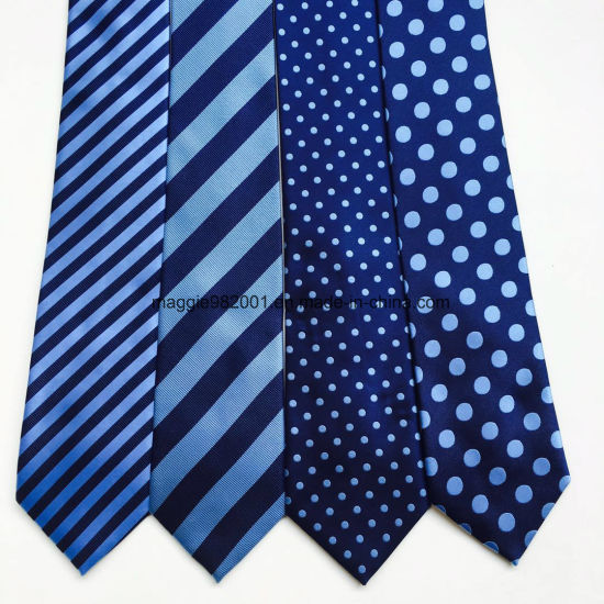 China Same Color Different Design Dobby Dots Striped Navy Royal Blue