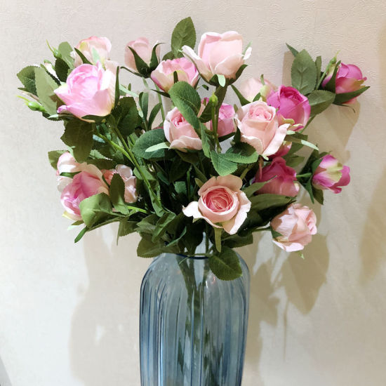 5 Head Rose Fake Silk Flower Artificial Plant for Home Decoration