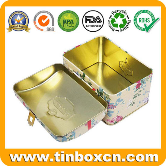 Customized Food-Safety Tinplate Rectangular Tea Tin Can with Hinge for Premium Cosmetic Metal Box pictures & photos