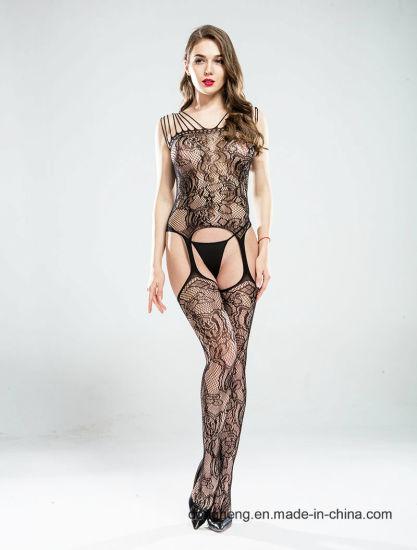 Sexy Women's High Stretch Big Flowery Jacquard Fishnet Bodystocking Open Crotch Lingerie