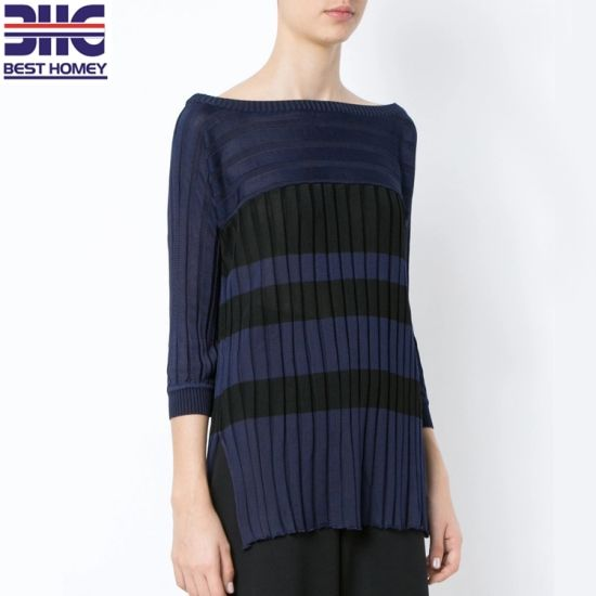 ea8c8145db Women′s Striped Knit Top off Shoulder Design Cropped Sleeves Ribbed  Pullover Sweater