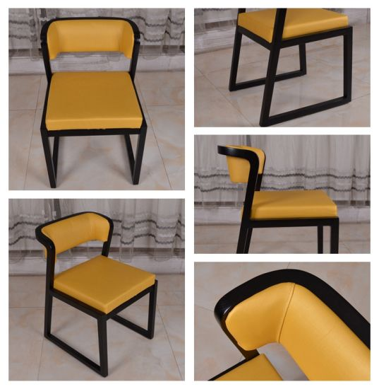 Yellow PU Leather Dining Room Chair For Hotel Restaurant Cafe Pictures Photos