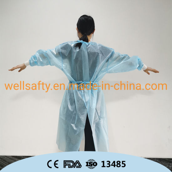 PP PE Disposable Gown SMS CPE PPE Non Sterile Isolation Gown Protective Coverall AAMI ANSI 510K Gown Protective Clothing Lab Coat Suits 40 50 GSM