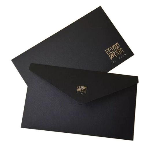 China Custom Fancy Design Printing Black Kraft Paper Envelope