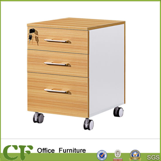 Wooden Furniture Table Moveable And Lockable 3 Drawers File Cabinets