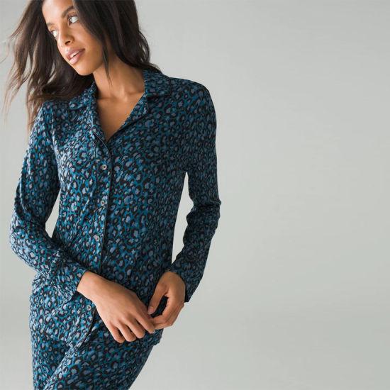 New Fashion Long Sleeves Cardigan Knit Leopard Print Two Piece Home Casual Wear Homewear