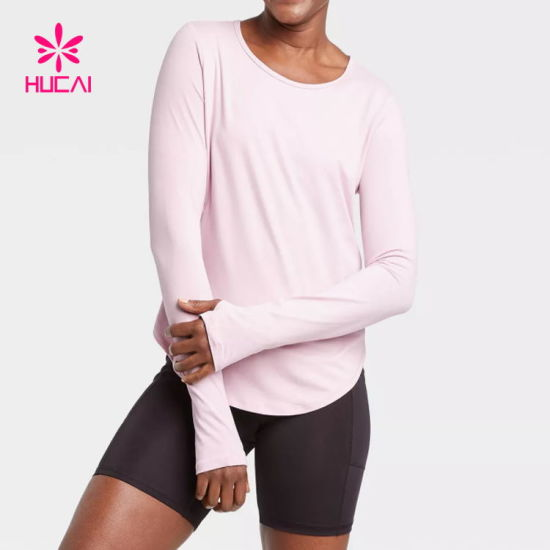 O Neck Long Sleeve Shirts Fitness Thumb Hole Sweatshirt