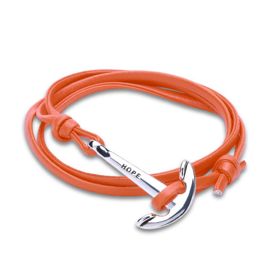 European and American Punk Style Vintage Braided Leather Boat Anchor Bracelet